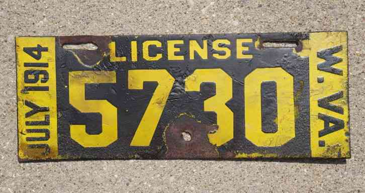 Arizona State License Plate >> 1913 1914 West Virginia Porcelain License Plate