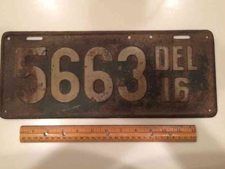 1916 delaware license plate tag 5663 for Michigan fishing license prices