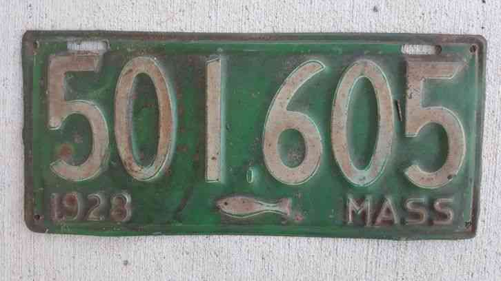 1928 massachusetts license plate codfish graphic in good for Nys fishing license prices