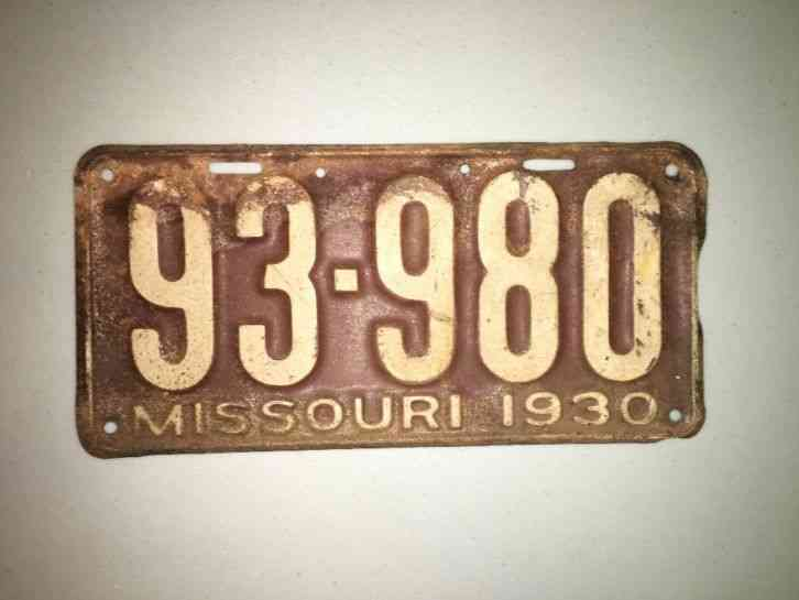 Cars For Sale In Maine >> 1930 Missouri License Plate
