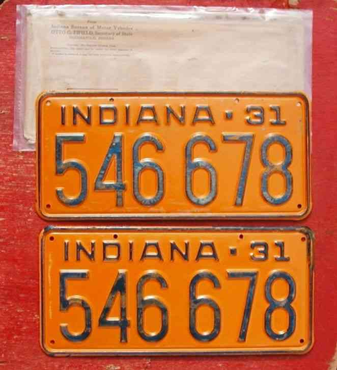 1931 Indiana Nos Original Pair 546 678 Model A License