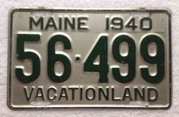 1940 Maine Vacation Land License Plate