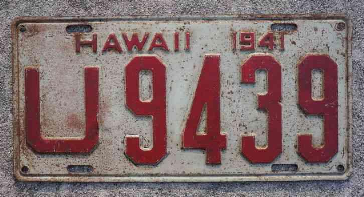Rhode Island License Plate >> 1941 Hawaii License Plate - WW II Pearl Harbor - ORIGINAL