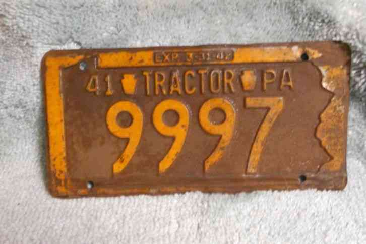 Tractor Car Tags : Pa tractor license plate old car parts vintage