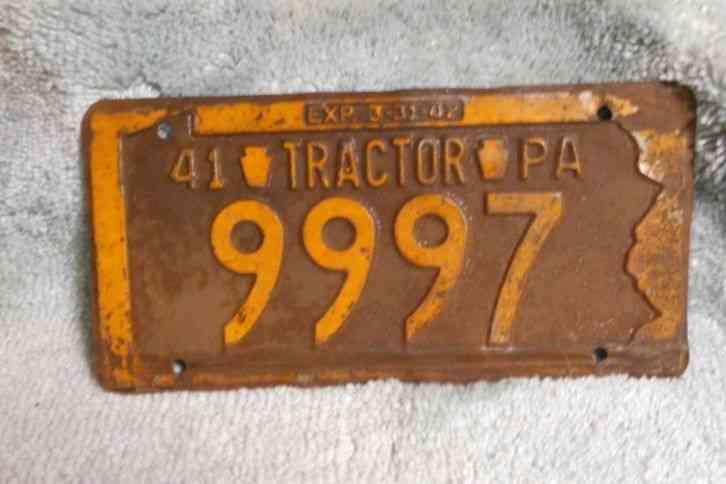 Tractor License Plates : Pa tractor license plate old car parts vintage