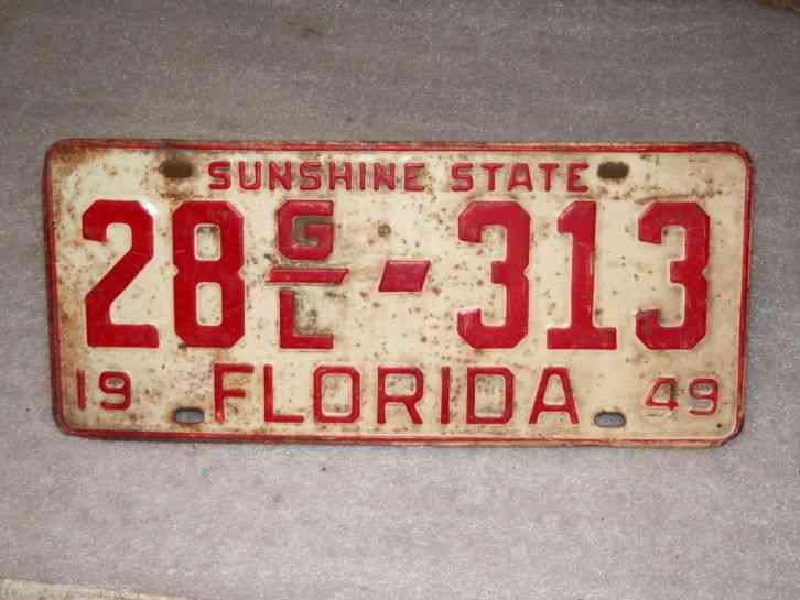 1949 Florida Motor Vehicle License Plate 28gl 313