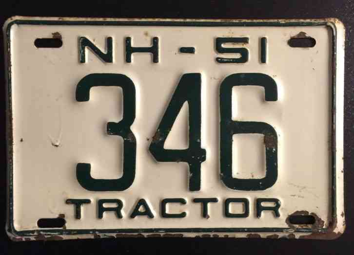 Cars For Sale In Nebraska >> 1951 New Hampshire Tractor License Plate 346 NH Low Number