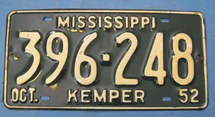Virginia Auto Sales Tax >> 1952 Mississippi license plate