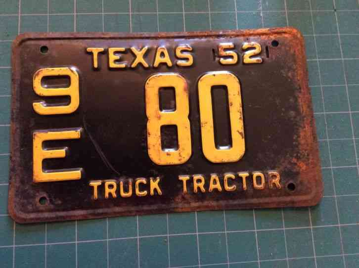 Tractor License Plates : Texas truck tractor license plate nos e