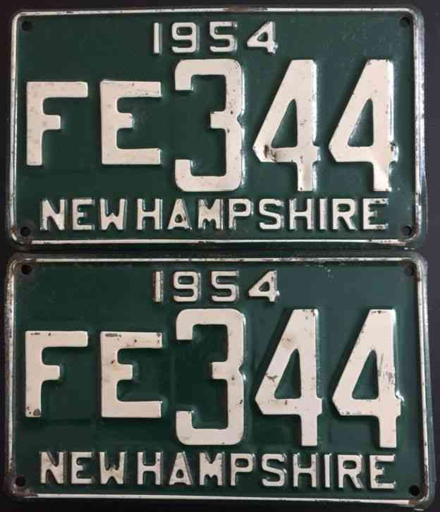 1954 pair of new hampshire license plates fe 344 cheap