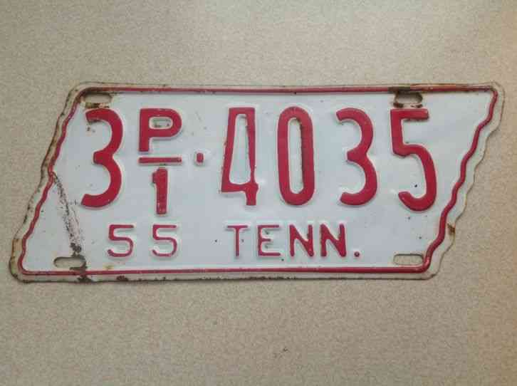 1955 Tennessee State Shaped License Plate