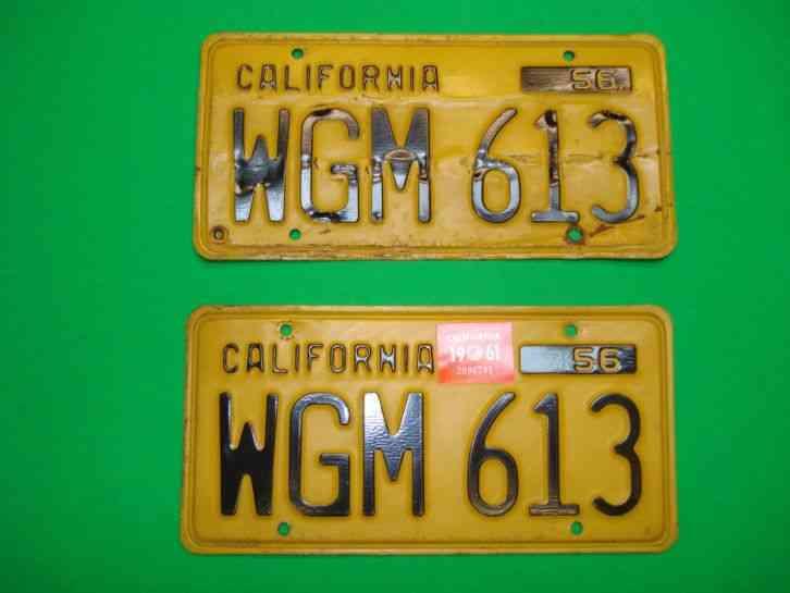 1956 Set Of California License Plates