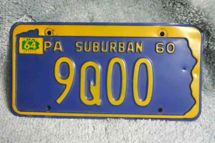 New Oklahoma License Plates >> 1960 Pennsylvania Suburban license plate 9QOO PA 64 Tag