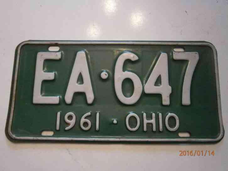 1961 ohio license plate number ea 647. Black Bedroom Furniture Sets. Home Design Ideas