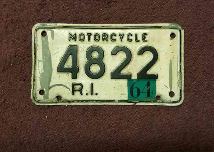 1964 Rhode Island Motorcycle License Plate
