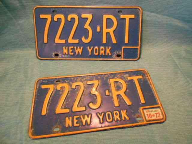 1966 73 New York State License Plates 7223 Rt 72 Sticker