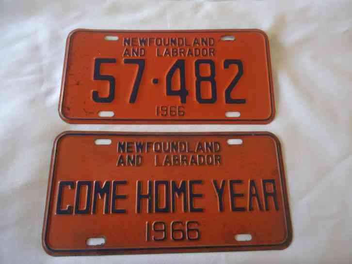 Virginia State Sales Tax >> 1966 Newfoundland & Labrador License Plate Set - Come Home