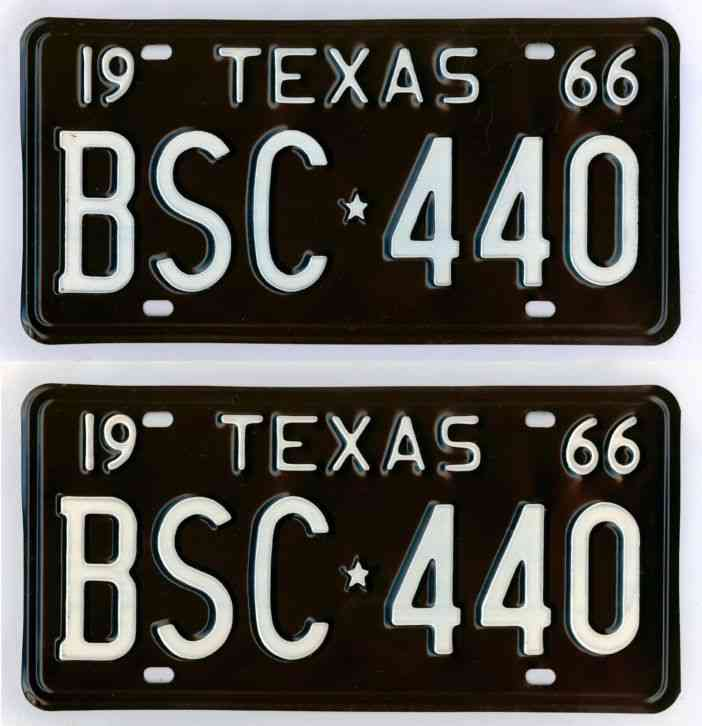 1966 Texas license plate pair New Old Stock! #BSC-440