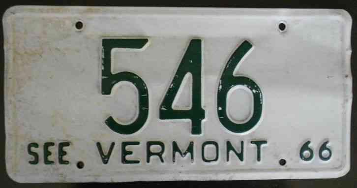 1966 vermont license plate low number. Black Bedroom Furniture Sets. Home Design Ideas