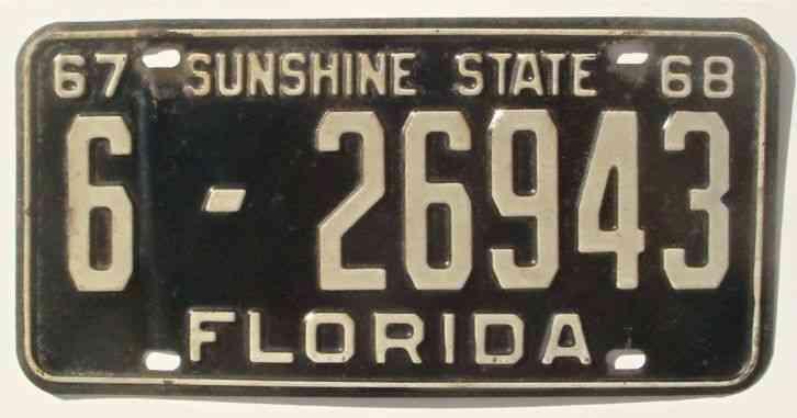 Cars For Sale In Jacksonville Fl >> 1967 1968 FLORIDA PASSENGER LICENSE PLATE 230