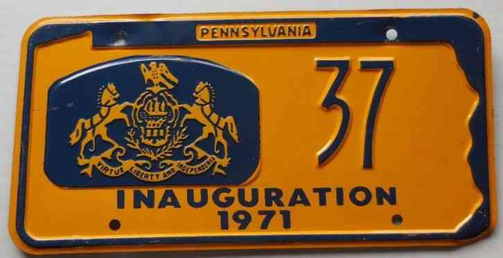 1967 Pennsylvania Governor Inaugural License Plate
