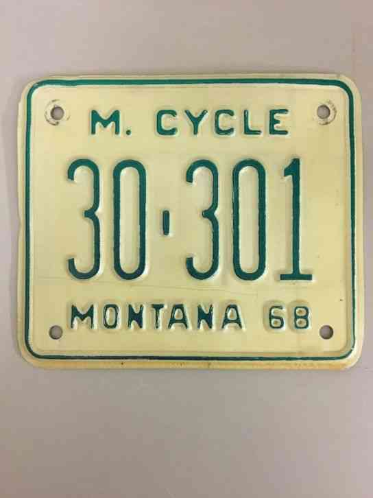 1968 MONTANA MOTORCYCLE LICENSE PLATE