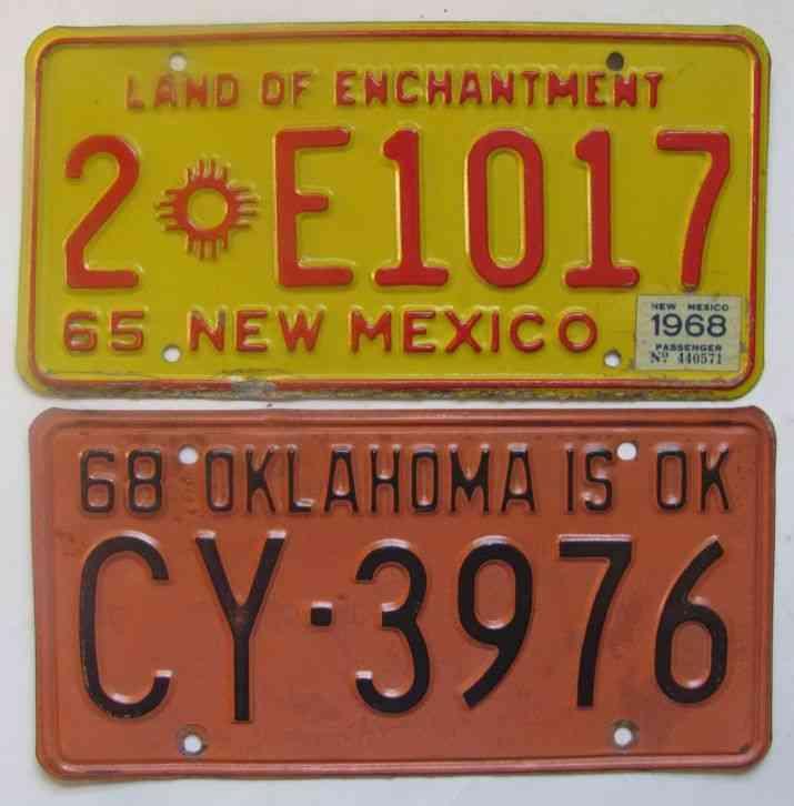 1968 New Mexico & Oklahoma license plates ORIGINALS
