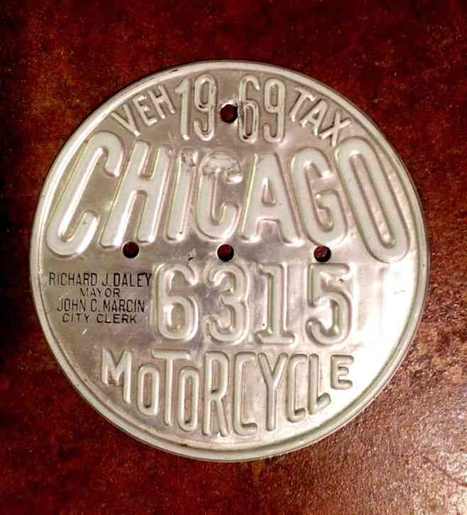 1969 Chicago Illinois Motorcycle Vehicle Tax License Plate