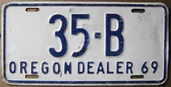 1969 oregon dealer license plate 35 b for Iowa fishing license cost