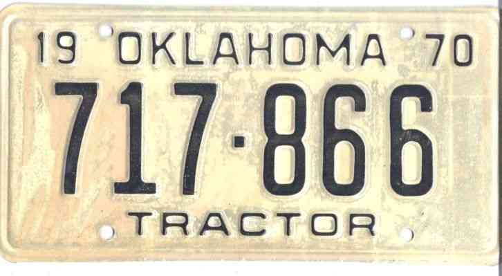 Tractor License Plates : Oklahoma tractor license plate never