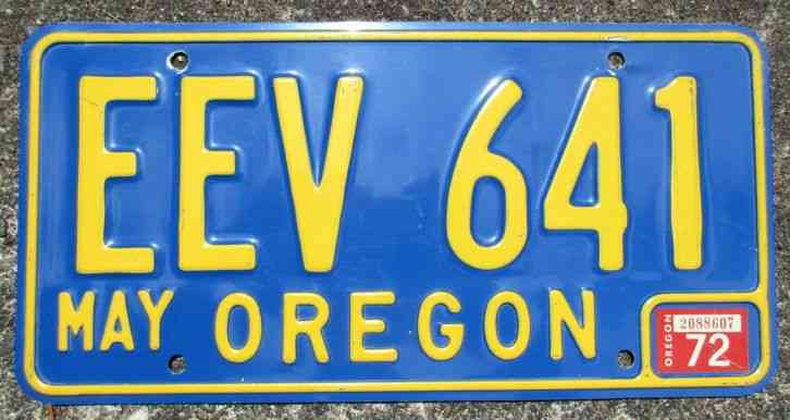 Oregon license plate fresh off barn wall for Oregon fishing license price