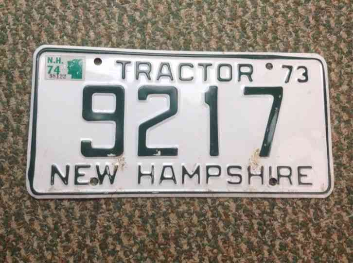 Tractor License Plates : New hampshire nh tractor farm license plate