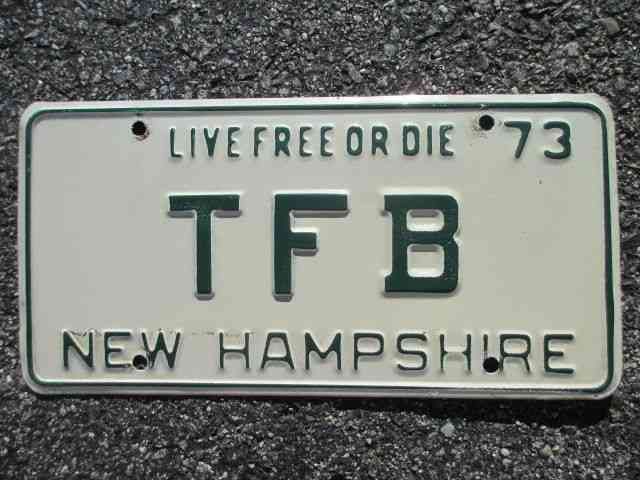 1973 New Hampshire Vanity License Plate Tfb