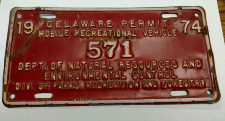 1996 delaware state owned exempt license plate 1871 for De fishing license