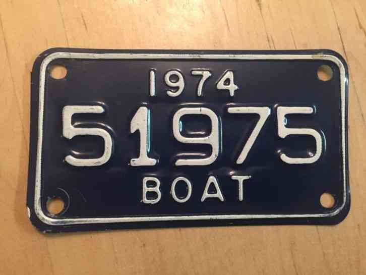 1974 michigan boat license plate 51975 mi 74 watercraft for Michigan fishing license prices
