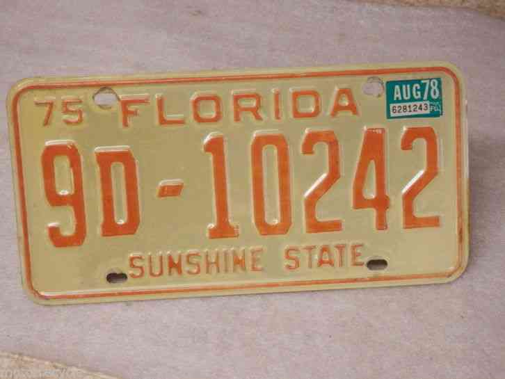 1975 1978 tag florida motor vehicle license plate 9d 10242 for Florida motor vehicle license