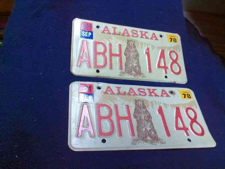1978 Alaska Bear License Plate Set With 1981 Sticker