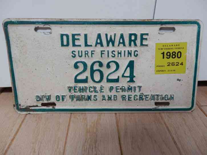 1980 delaware surf fishing vehicle permit 2624 license for Pa fishing license prices