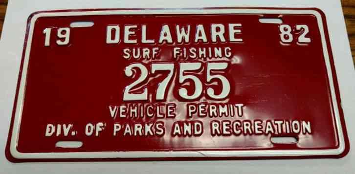 1982 delaware surf fishing plate nos vintage tag for Surf fishing nj license