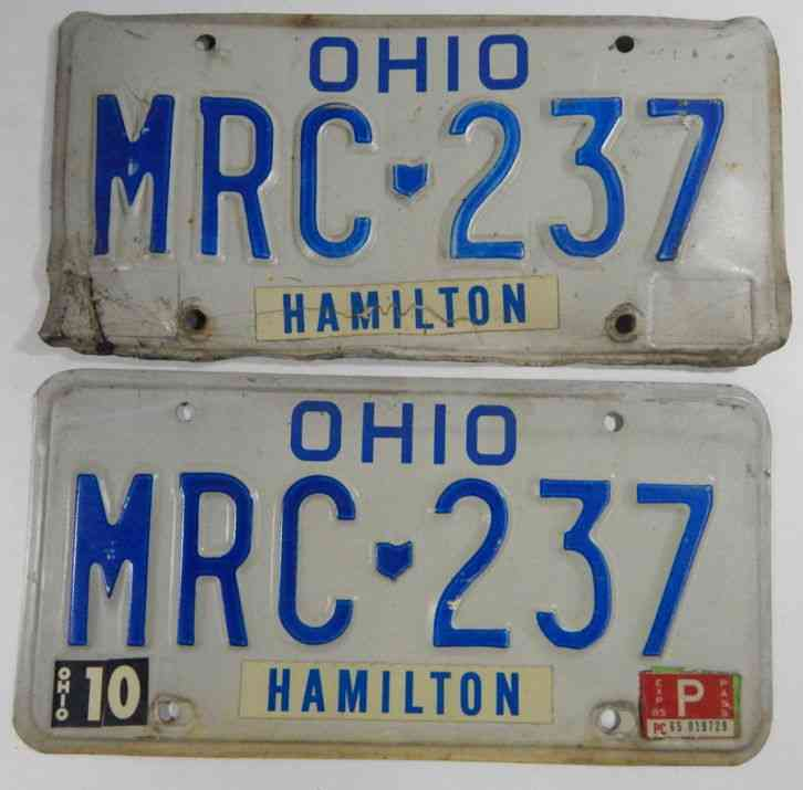 1984 matching pair of ohio vehicle license plates mrc 237. Black Bedroom Furniture Sets. Home Design Ideas