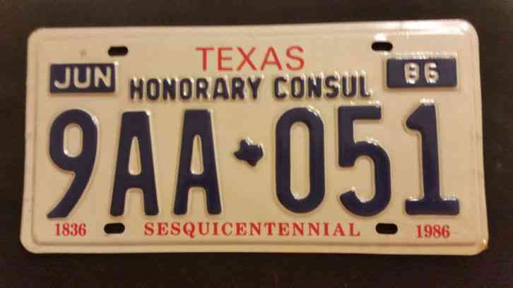 1986 texas honorary consul 9aa 051 license plate for Consul license