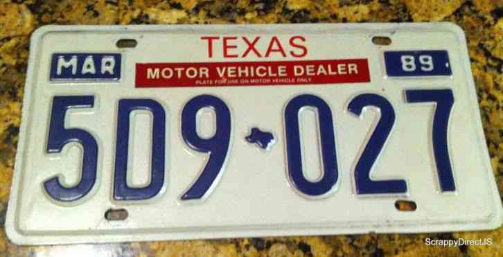 1989 texas march license plate motor vehicle dealer