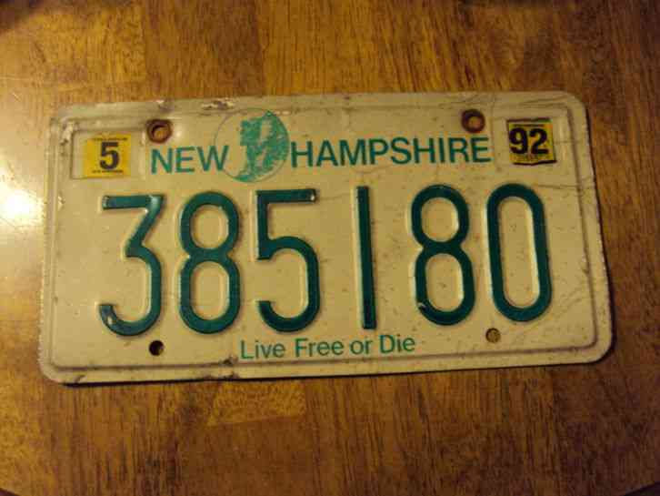 1992 New Hampshire License Plate 385180