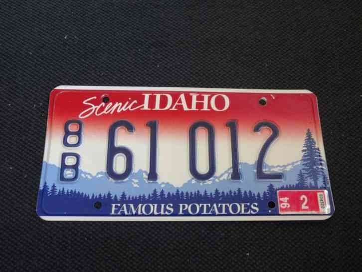 1996 idaho 89 772 vintage famous potatoes license plate for Florida temporary fishing license
