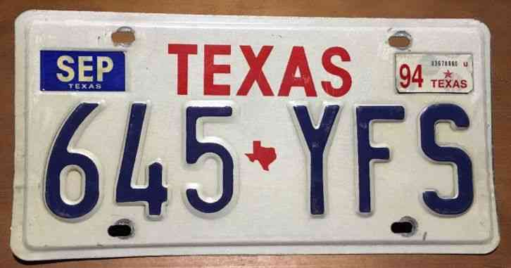 1994 Texas License Plate 645 Yfs