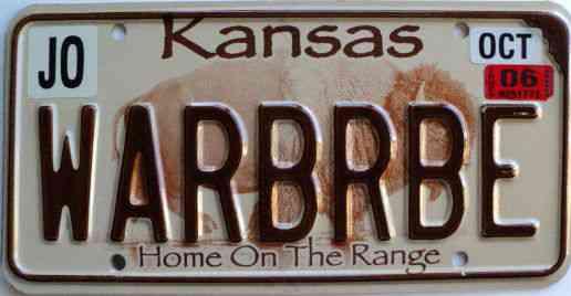 2006 Kansas Buffalo Vanity Graphic License Plate Warbrbe