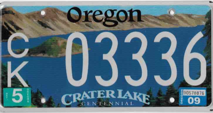2009 Oregon Crater Lake Centennial License Plate 03336