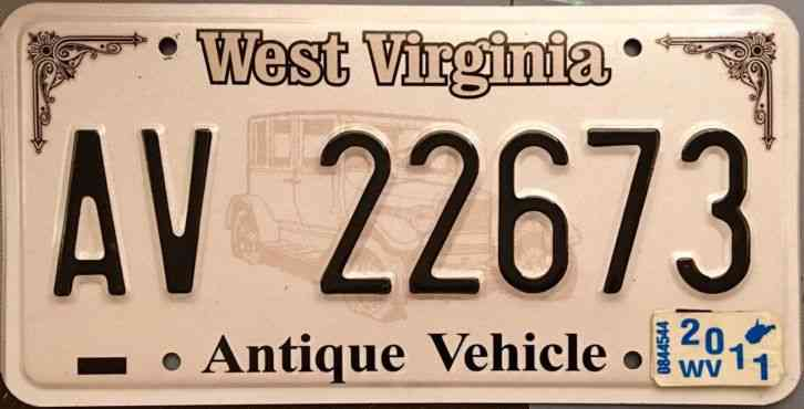 2011 West Virginia Antique Vehicle License Plate