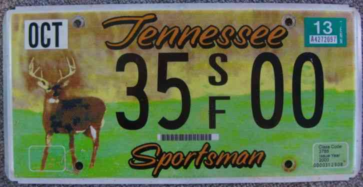 1977 tennessee vanity license plate de tour for Tennessee fishing license prices