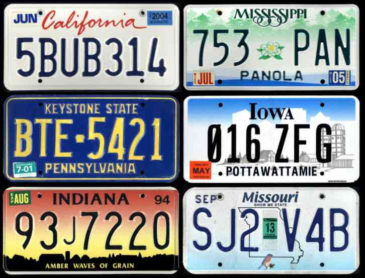 6 license plates various states ca ms pa ia in mo for Kansas dept of motor vehicles phone number